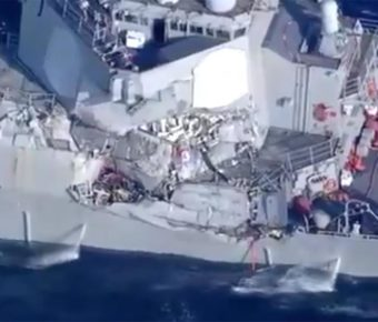 Video shows damage to the USS Fitzgerald.