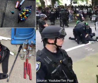 Portland PD and Homeland Security are confiscating weapons at the Portland Free Speech Rally.