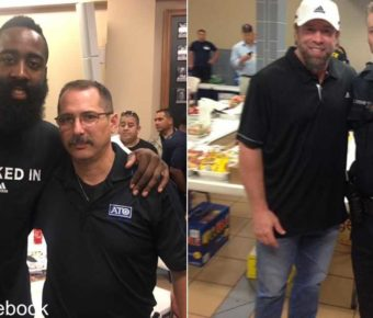 Sports celebrities such as NBA star James Harden and retired baseball player Jeff Bagwell have met with Houston police to lift their spirits.