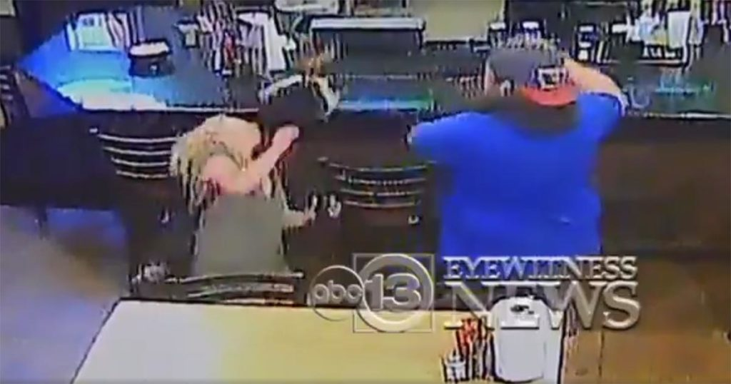 A couple was involved in a bar fight which has gone viral on video.